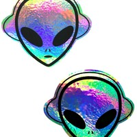 Holographic Silver Alien Beat Pasties
