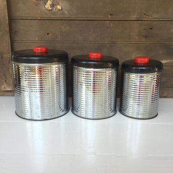 Vintage 3 Piece Metal Kitchen Canister Set - 1950's - Retro