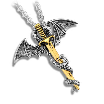 Personality Cool Stainless Steel Chain Long Pendant Necklace Pterosaur Sword Jewelry Men Necklace Dragon Punk Maxi Necklace