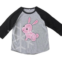Rabbit shirt kids toddler animal shirt- 3/4 sleeve tshirt -Child t shirt -Raglan shirt- Baseball tshirt -Kids tshirts