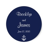 Navy Blue Nautical Wedding Stickers With Anchor
