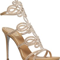 RENE CAOVILLA - Cutout Swarovski-embellished silk heeled sandals | Selfridges.com