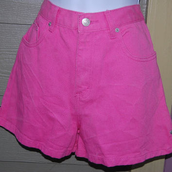 Vintage 80s Jordache High Waisted High Rise Neon Bubble Gum Pink Colored Denim Jean Shorts Size 16 // 28 Waist