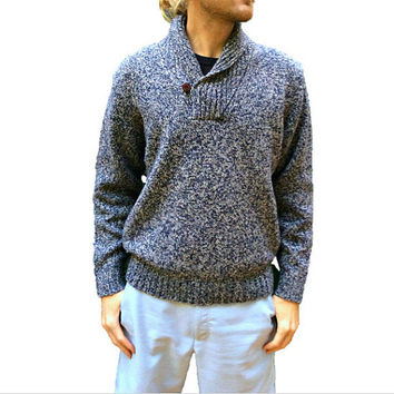 L.L. Bean Vintage Wool Blend Sweater - Blue & White Heather - Shawl Collar - Thick Knit Lambswool - Mens Size Large (L)