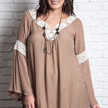 Mocha Bell Sleeve Tunic Top with Crochet Detail Plus (1XL)