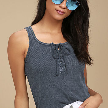 White Crow Play With Fire Washed Navy Blue Lace-Up Tank Top