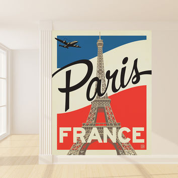 Anderson Design Group's Paris Flag Mural wall decal