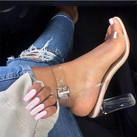 Simple Transparent Film Buckle Women Sandals High Heels Shoes