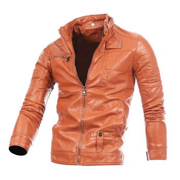 Cloudstyle 2017 New Spring Autumn Fashion Men Jackets Zipper Causal Simple Style Stand Collar Slim Fit Faux Leather Jacket