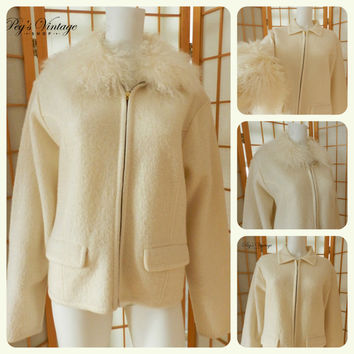 Vintage Ivory White Boil Wool Jacket w Faux Ostrich Feather Collar Size L , Victoria Harbour White Knit Wool Jacket Coat