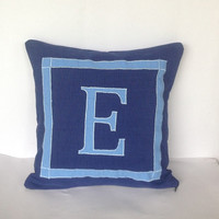 Navy Blue Pillow Covers, Personalized Monogram 24 inches square pillows, customized cushion cover-cotton sofa pillow