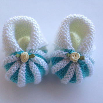 Crochet Baby Booties Newborn Shoes Knitted Booties Baby  Booties Infant Shoes White Baby Slippers