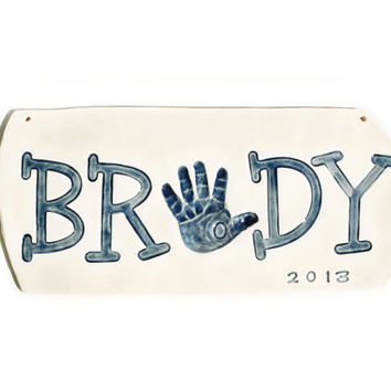 Baby Name with Handprint Mold included newborn to 24 months