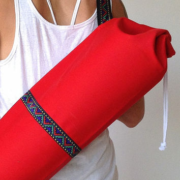 Red YOGA / PILATES mat bag with red green yellow & purple woven aztec stripe 100% strong cotton drill. Re-enforced stitching