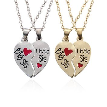 Big Sister Little Sister Necklace 2PCS/Set Broken Heart BFF Pendants Necklaces Two Hearts Sis Necklaces Fashion Family Jewelry