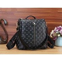 LV Louis Vuitton Fashion Women Monogram Leather Travel Bookbag Shoulder Bag Single Zipper Backpack Black LV Print I-WMXB-PFSH