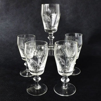 Vintage Sherry Glasses / Vintage Stemware / Port Glasses / Liqueur Glass / Vintage Barware / Antique Glassware / Mini Appetizer Dish