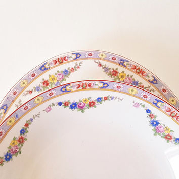 Vintage China Dinnerware Large Serving Bowls Platter Thompson China Serving Platter Salad Soup Bowls Floral Dinnerware Yellow Blue China