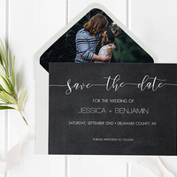 Chalkboard Calligraphy Save The Date Template, Handwritten Wedding Save The Date with Envelope Liner Templates, Printable Save The Date