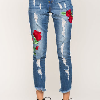 Beauty Embroidered Distressed Skinny Jeans