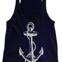 Friendly Oak Women's Anchor Tank Top -L -Navy Blue
