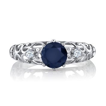 Round Blue Sapphire Silver Ring