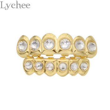 ESBONHS Lychee Hip Hop Gold Silver Color Rhinestone Crystal Grillz Dental Grills Top Bottom Tooth Caps Body Jewelry for Men Women