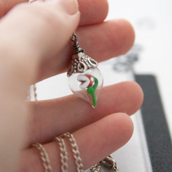 Glass Bottled Baby Piranha Plant Necklace