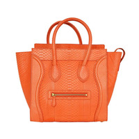 Celine Neon Orange Python Leather Mini Luggage Tote Bag rt.$6200+