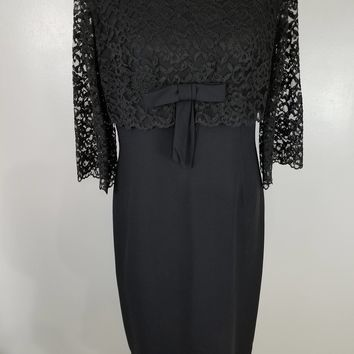 LBD Black Dress with Lace Bell Sleeves Empire Waist