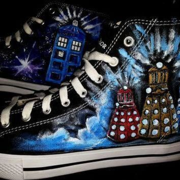 DCCK1IN doctor who shoes handpainted men s size 10 converse daleks tardis