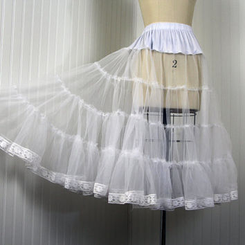 Crinoline - Vintage 50s Style White Single Layer Petticoat Slip for Your Dress or Skirt OSFM - The Softer Side