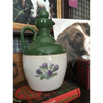 Vintage Grouse Scottish Thistle Decanter / Vase  Montrose Potteries SCOTLAND Green JUG DECANTER / FLAGON