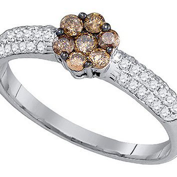 Cognac Diamond Flower Ring in 10k White Gold 0.55 ctw