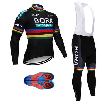 Cycling Clothing 2018 Pro Team Men's Autumn Black Long Sleeve Bicycle Clothing Set Maillot Ciclismo MTB Bike Jersey Pants Set