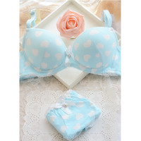 On sale! Bra all-match high quality solid color 100% cotton bra underwear set 100% 3 breasted cotton