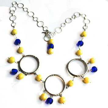 Boho Beaded Necklace featuring Vintage Miriam Haskell Beads,  Round Yellow and Blue Glass Beads, Great Gift For Her, Silver Circles Necklace