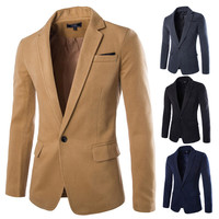 One Button Men's Slim Fit Wool Blazer Jacket