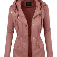 Lightweight Cotton Military Anorak Jacket with Hoodie - Mauve