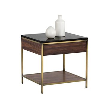 STAMP YELLOW POPLAR WOOD SURROUNDING METAL FRAME  WITH ANTIQUE BRASS FINISH SOLID BLACK MARBLE TOP END TABLE