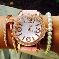 Pink Rose Gold Chevron Watch and Arm Candy Bracelet Set