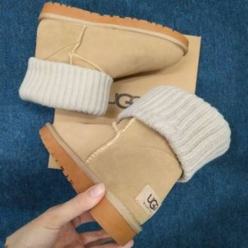 2018 Original UGG Fashion Plush leather boots boots in tube Boots Brown G