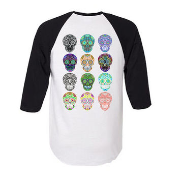 Mens or Womens Small Black and White Raglan Baseball shirt with 12 Sugar Skull. Trendy clothes. Punk Rockabilly Tattoo fashion Teen Gift