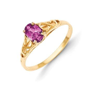 Size 5 14kt Yellow Gold Oval Synthetic Alexandrite Girls Ring