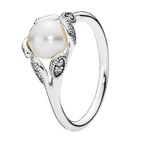 Authentic Pandora Jewelry - Luminous Leaves White Pearl Ring