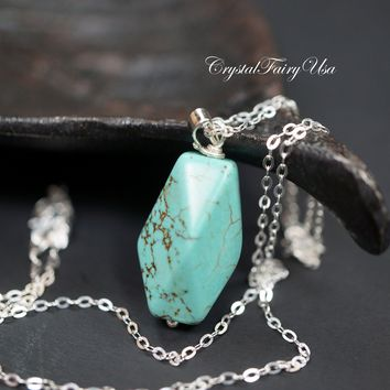 Sterling Silver Turquoise Necklace - Simple Green Stone Nugget - Turquoise Pendant - 14K Rose Gold Turquoise Jewelry