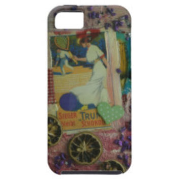 vintage lady playing tennis iPhone 5 cases