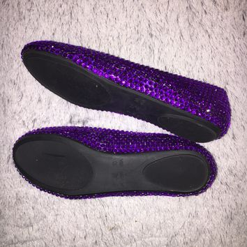 Bedazzled Ballet Flats In Black With Cadbury Purple Crystals
