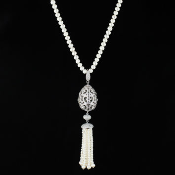 Gift New Arrival Shiny 925 Silver Pearls Stylish Jewelry Necklace [4914871748]