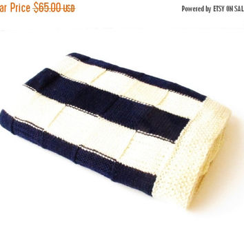 GRAND SALE Hand knitted Baby Wool Blanket Blue White Yvory color Boy Girl Newborn gift two identical blankets for twins gift for twins Chris